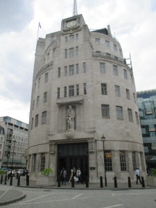 Wonderful art-deco building completed in 1932 - Eric Gill's sculpture of Prospero and Ariel towers over the entrance.