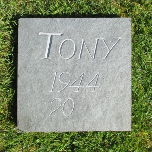 Anthony Sargeant (but usually know as Tony) carved this riven slate tablet in certain anticipation of his demise albeit at some unknown date.